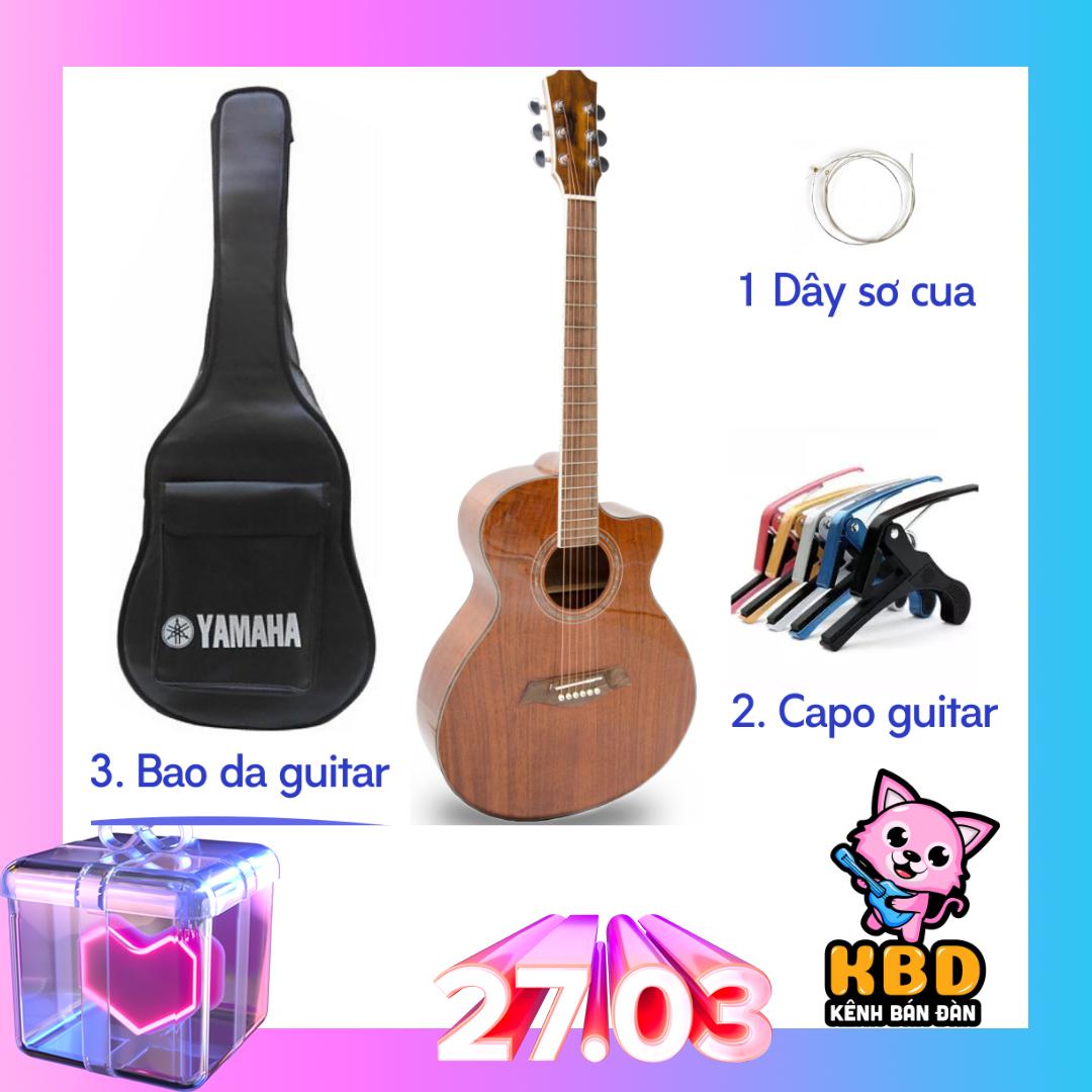 ĐÀN GUITAR ACOUSTIC GỖ MAHOGANY CAO CẤP tTẶNG KÈM KHÓA HỌC, bao da , capo guitar , dây sơ cua, giáo trình cho người mới tập chơi