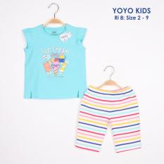 Bộ quần áo thun 4c áo xẻ tà thân trước in ICE CREAM, quần in sọc mềm mịn Size 2-9