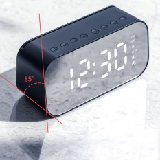 Loa bluetooth không dây màn hình led kiêm đồng hồ báo thức làm đèn ngủ đo nhiệt độ phòng với mặt kính tráng gương pin trâu hỗ trợ dây AUX và thẻ nhớ HAPO