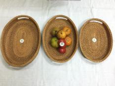 Bộ 3 Khay OVAL đa năng: Đựng Hoa Quả, Đồ Dùng, Văn Phòng Phẩm (Handmade 100% Từ Cói & Guột)