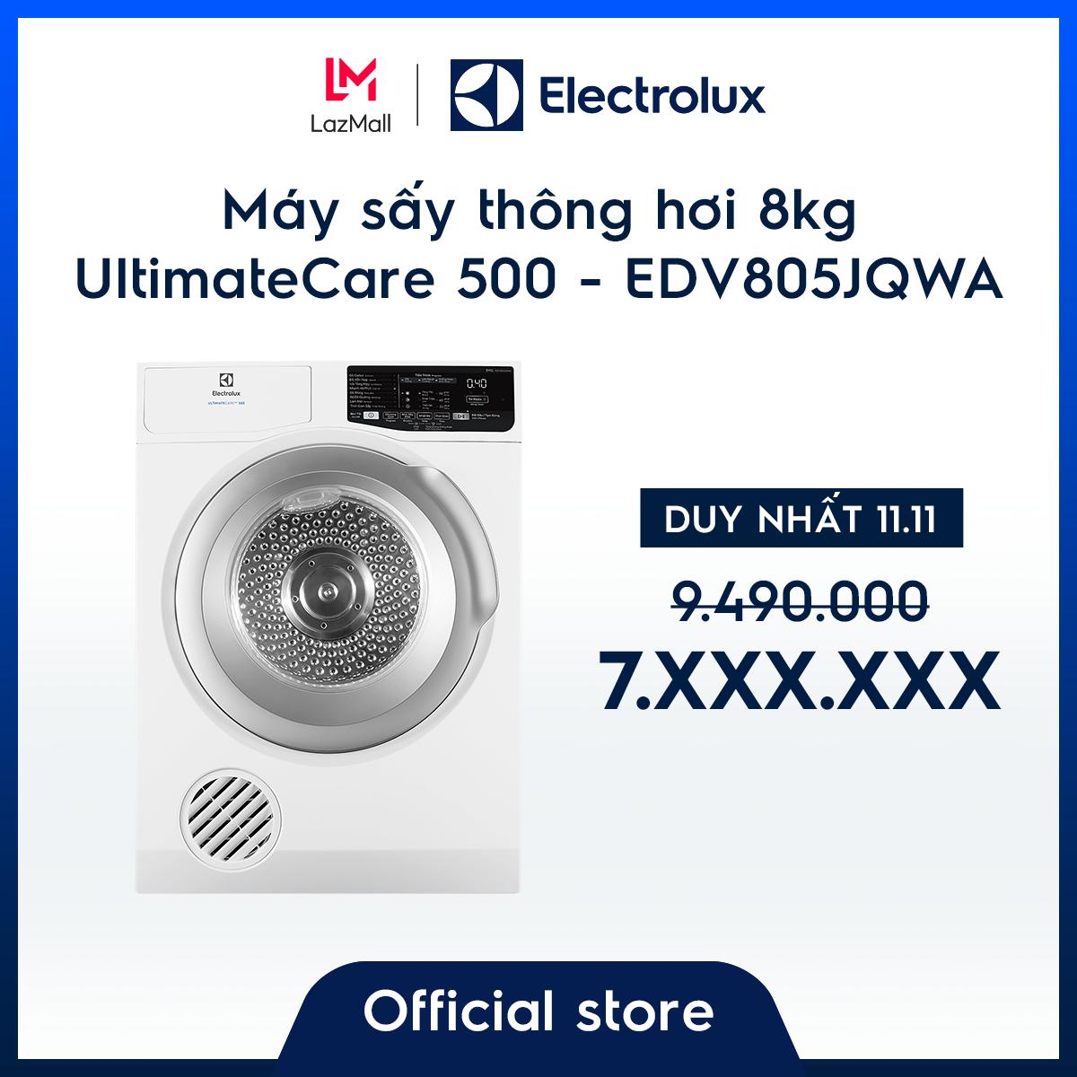 [Miễn phí công lắp đặt – Giao hàng HCM & HN] Máy sấy Electrolux thông hơi 8kg UltimateCare 500 EDV805JQWA – Màu trắng – Thiết kế sang trọng – Công nghệ sấy đảo chiều – Giữ màu sắc yêu thích – Hàng chính hãng