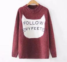 Áo len nữ form rộng hoạ tiết hình mèo thêu chữ Follow My Feet (Đỏ sậm) LTTA3115 BEAUTYSALES
