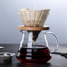 Bộ bình và phễu pha cafe giấy lọc V60 pha Pour over giá gỗ tròn V60