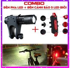 [Video Thực tế] Combo Đèn Pin LED siêu sáng mini trên xe đạp (Có đế kẹp), đèn pha xe đạp + Đèn LED cảnh báo phía sau xe đạp giúp An toàn đi ban đêm (Đỏ)