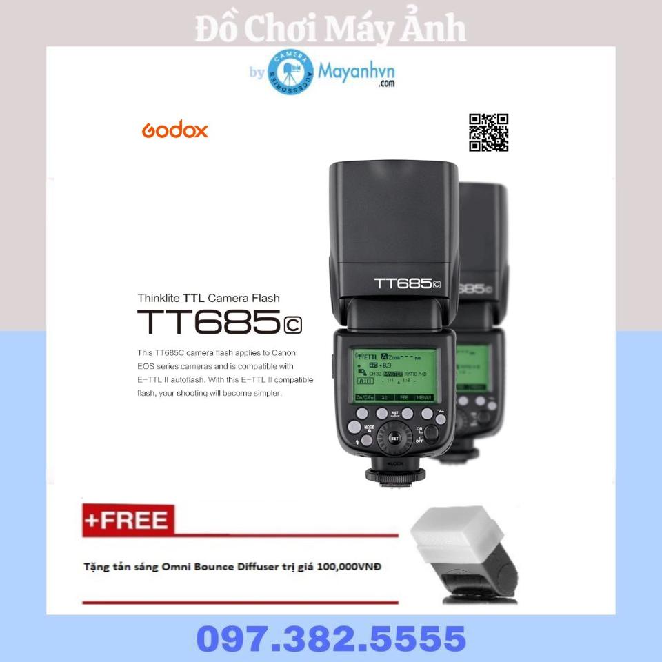 Flash Godox TT685C for Canon ( Mới 100%- Bảo hành 12 tháng)- Tặng kèm tản sáng omni bouce