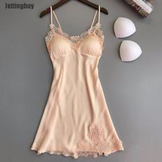 Jettingbuy Ấm Phụ Nữ Đồ Lót Gợi Cảm Lụa Váy Choàng Ren Ăn Mặc Váy Ngủ Kiểu Búp Bê Babydoll Ngủ