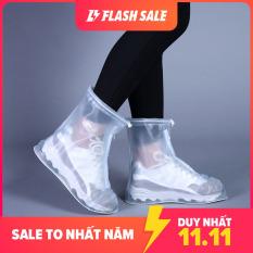 Ủng đi mưa chống trượt dày dặn; Ủng đi mưa nam nữ chất liệu PVC trong suốt lồng ngoài giày dép trống trượt