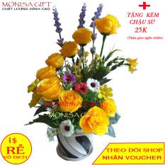 [TẶNG CHẬU SỨ] Hoa Hồng Lụa Cao Cấp Monisa Gift – Hoa gHồng Giả Để Bàn Trang Trí- Hoa Lụa Cao Cấp – Hoa Vải Đẹp