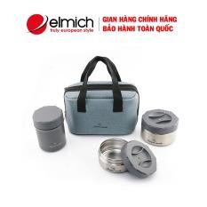 Bộ 3 hộp đựng cơm Elmich Smart Cook SM3956, 2313956 + Tặng kèm Túi + đũa – Hộp cơm văn phòng – Hộp đựng thức ăn