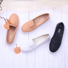 Giày Búp Bê Đế Slipon Trắng Siêu Nhẹ Nơ Thắt Pixie X638