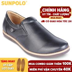 Giày mọi nam da bò SUNPOLO SKT01DN (Đen, Nâu)