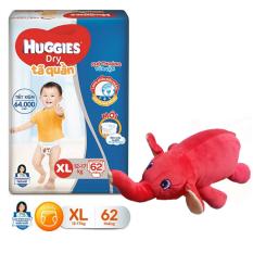[Tặng thú bông con voi] Tã quần Huggies size L68 – size XL62 – size XXL56 (màu thú bông tặng ngẫu nhiên)
