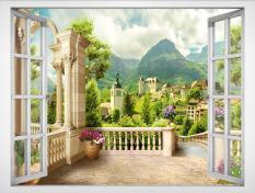 Tranh dán tường cửa sổ 3D VTC Cảnh đẹp lâu đài VT0418 Kim sa