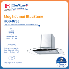 Máy hút mùi BlueStone HOB-8735 – Dòng máy hút mùi kính cong – Lưới lọc hợp kính nhôm 5 lớp – Than hoạt tính – Bảo hành 24 tháng – Miễn phí lắp đặt HN/HCM – Hàng chính hãng