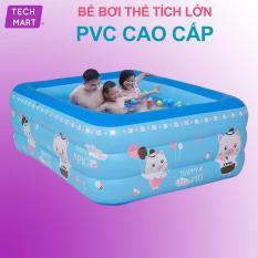 Bể bơi phao cho bé 3 tầng , hồ bơi trẻ em, bồn tắm em bé loại dày chống trượt cho trẻ em. BH 1 ĐỔI 1 Bởi Tech Smart HCM