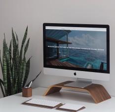}Kệ màn hình máy tính, Kệ Imac, Kệ kê màn hình gỗ uốn cong Mipu Imac Stand – Veneer Walnut (Óc Chó) tự nhiên.