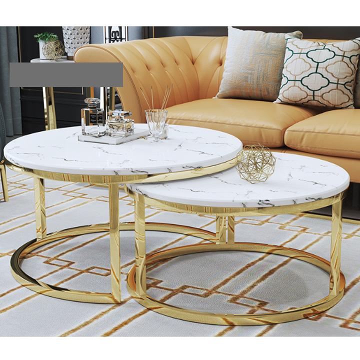Bàn sofa đôi – Bàn trà cao cấp – Bàn cà phê đá cẩm thạch, bàn đôi hình tròn chân thép không rỉ hiện đại trang trí phòng khách, quán trà, cà phê