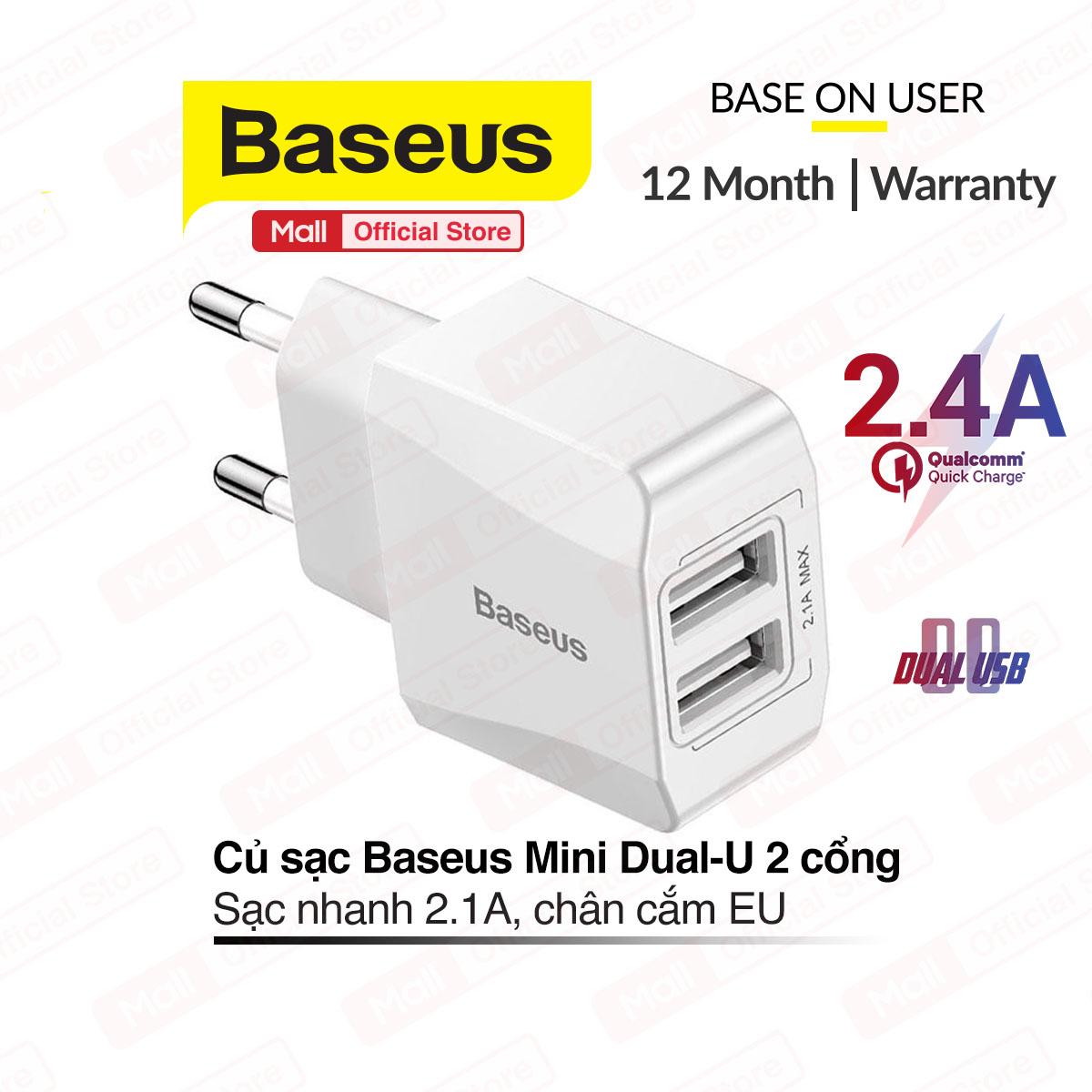 Củ sạc 2 cổng BASEUS Mini Dual-U sạc nhanh 2.1A, 2 cổng tiện lợi sạc được nhiều thiết bị cùng...