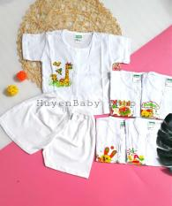Set 5 bộ quần áo sơ sinh tay ngắn Bosini màu trắng, cúc giữa cho bé từ 0-12 tháng