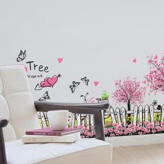 Decal trang trí dán tường hàng rào họa tiết hoa bướm lãng mạn XL7080