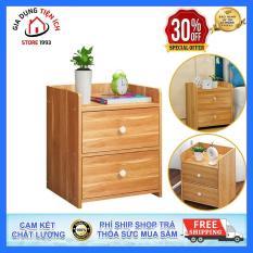 Tủ gỗ đầu giường, Tủ gỗ phòng ngủ 2 ngăn, Kích thước 40x 26×32,5cm