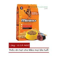 Thức ăn hạt cho Mèo mọi lứa tuổi Minino gói 1.3kg- Vị Cá Ngừ – [Nông Trại Thú Cưng]