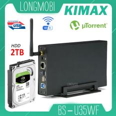 Kimax U35WF Ổ cứng mạng Nas Wifi, không cần Format HDD Download Torren, Tích Hợp AccessPoint Moden 2021