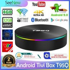 Android Tivi Box Siêu mạnh 4K T95Q 4G+32G S905X2 Android 9.0 Gigabit Optical Wifi Bluetooth với Ứng dụng video miễn phí