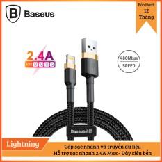 Cáp sạc Baseus sạc nhanh và truyền dữ liệu tốc độ cao Cafule Lightning cho iPhone/ iPad 2,4A – Bảo hành 12 tháng, Sạc nhanh, Siêu bền