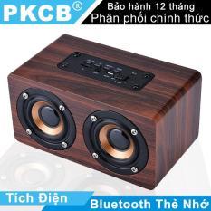 Loa nghe nhạc Bluetooth mini cho điện thoại Loa di động cầm tay âm thanh new loa vi tính vỏ gỗ âm thanh nổi HIFI PKCB G4 Stereo speaker supper Bass PF96 Nâu
