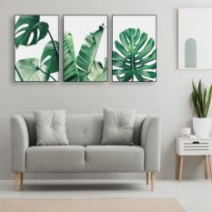 Bộ 3 tranh treo tường Lá xanh 10 – XJ2
