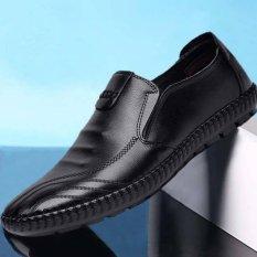 Giày lười nam da PU đế khâu có 2 màu siêu đẹp