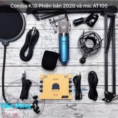 Bộ mic thu âm ISK at100 sound card xox k10 2020 phiên bản tiếng anh chân dây – combo livestream micro AT100 đã đầy đủ