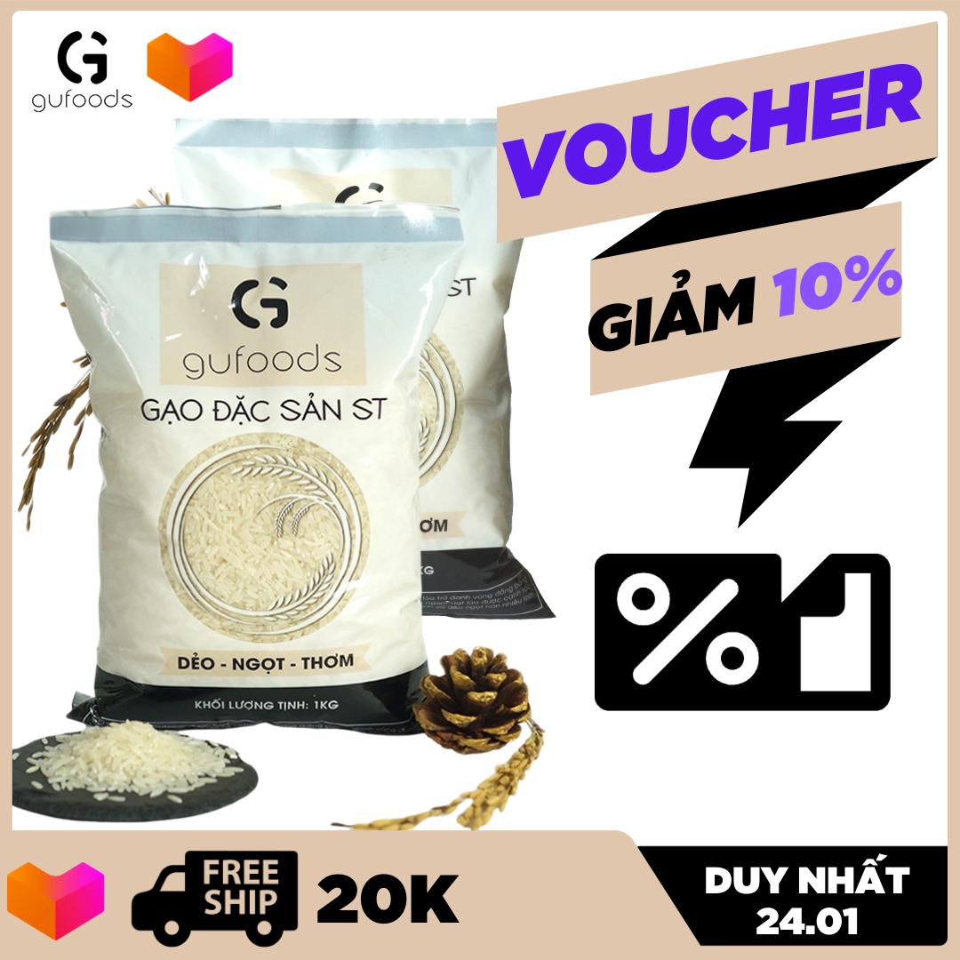 [TOP GẠO NGON NHẤT THẾ GIỚI] Combo 2 túi Gạo ngon đặc sản ST24 GUfoods (mỗi túi 1kg) (dẻo – ngọt – thơm)