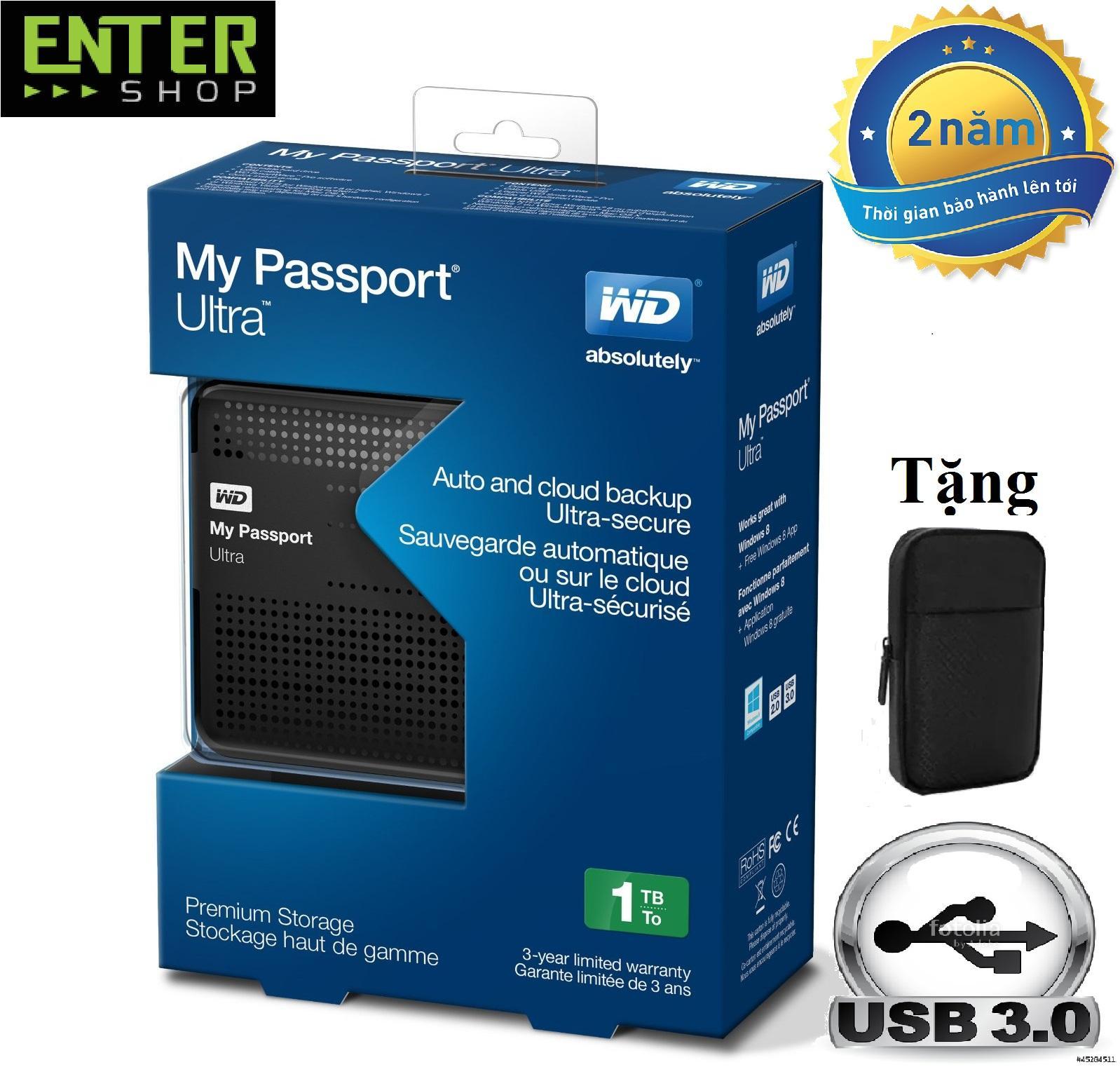 [Nhập ELJAN12 giảm 10%, tối đa 200k, đơn từ 99k]Ổ cứng di động WD my passport ultra 1Tb + bao...