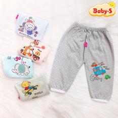 Quần chục dài cotton kẻ cho bé trai và bé gái 2-12kg chất vải đẹp mềm mịn hình thú đủ màu sắc bé mặc mát co giãn thoải mái Baby-S – SQVN002