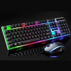 Bộ Bàn Phím Kèm Chuột LED giả cơ chuyên game G21 cho game thủ chuyên nghiệp, bàn phím cơ nhân tạo, bàn phím máy tính với led 3 màu cực đẹp, phím khắc chữ laser chống bay