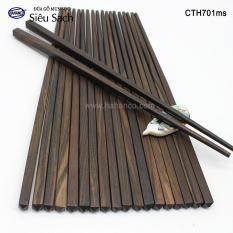Đũa gỗ Mun sọc trơn cao cấp – CTH701ms – (Hộp 10 đôi rất đẹp)- Gỗ quý tự nhiên vân đẹp – Chopstick of HAHANCO
