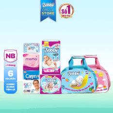 Combo Bobby mẹ đi sinh gồm 6 món: túi đựng đồ/miếng lót/Tã cho bé + BVS cho mẹ khăn ướt tiện lợi (0-5kg)