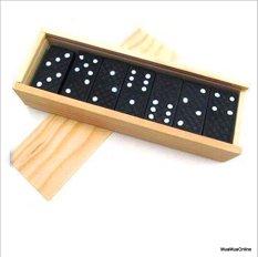 Bộ Chơi Cờ Domino Đen Kèm Hộp Gỗ Đựng Cờ