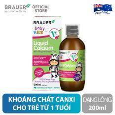 Hỗn hợp khoáng chất Canxi, Magie và Kẽm Brauer Liquid Calcium with Magnesium & Zinc dạng lỏng (200ml), hỗ trợ phát triển xương, răng, hệ thần kinh và chức năng tim mạch, cho trẻ 1 tuổi trở lên