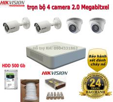 Bộ 4 camera giám sát hikvision 2.0Mb full phụ kiện lắp đặt H03