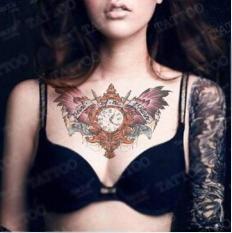 Hình xăm dán tatoo cánh đồng hồ kích thước 15 x 21 cm – miếng dán hình xăm đẹp dành cho nam