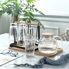 Khay úp ly, cốc không gỉ kèm khay hứng nước, để bình nước bằng gỗ cao cấp, chống ẩm mốc, dễ vệ sinh