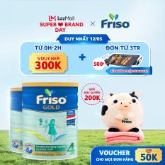 [Mẫu mới] Sữa Bột Friso Gold 4 lon thiếc 1.4KG – cho trẻ từ 2-6 tuổi + Tặng bộ mền gối con bò