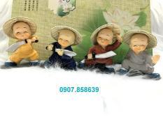 Bộ 4 tượng chú tiểu múa đao đội nón lá ( Hình Thật )