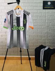 Áo Đá Bóng Juventus New – Trắng Sọc Đen Xanh – 2020