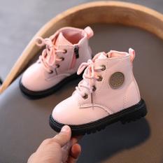 Thu Đông Trẻ em 2-6 tuổi Tất cả phù hợp Martin Boots Kiểu Anh Bé gái Dây kéo Dây kéo chống trượt Giày da mềm đế bằng