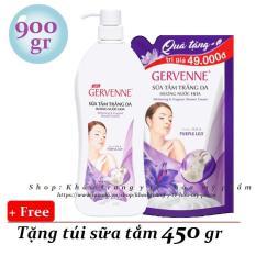 Gervenne – Sữa tắm trắng da 900 gr – hoa ly Tím + Tặng Túi sữa tắm 450 gr