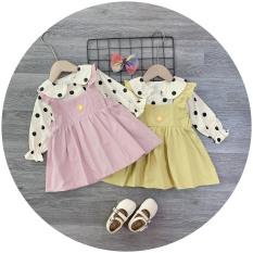 Váy yếm hồng – vàng áo bi bé gái